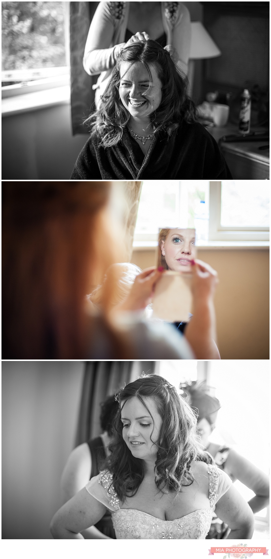 bride getting ready for wedding in hampshire