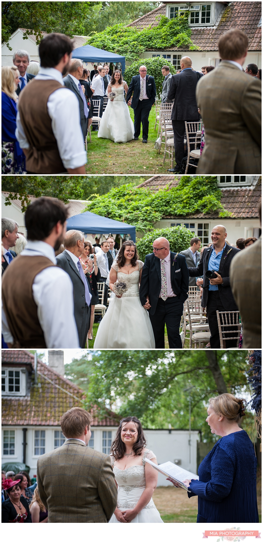 bride walking down the isle at marquee garden wedding in hampshire