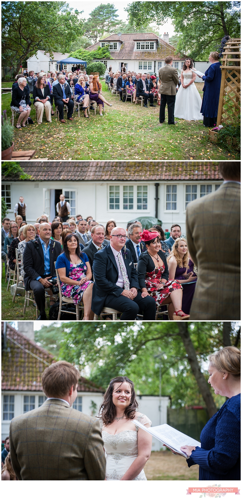 bride and groom doing their vows at vintage garden wedding