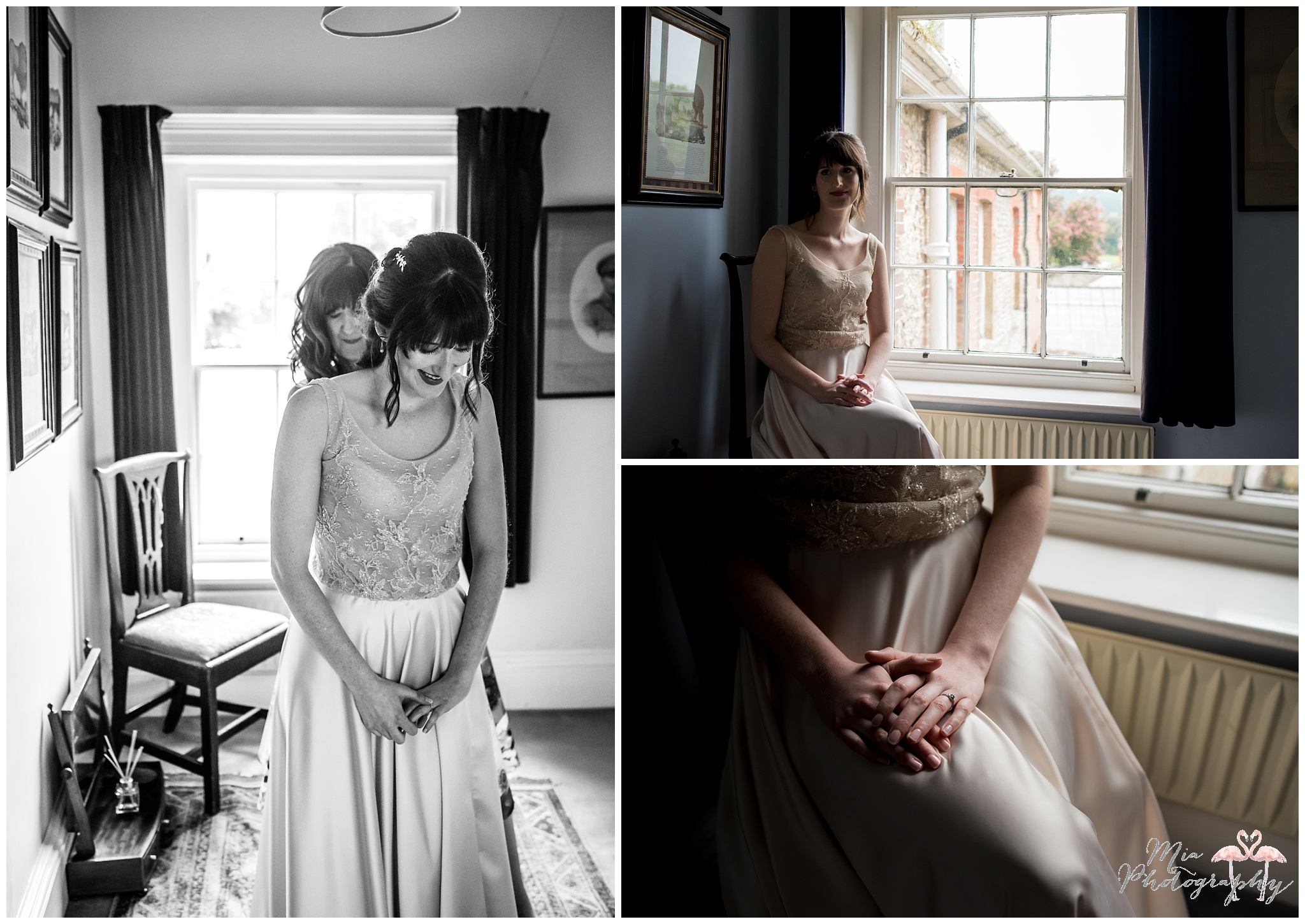 Bride getting ready for her wedding in West Sussex