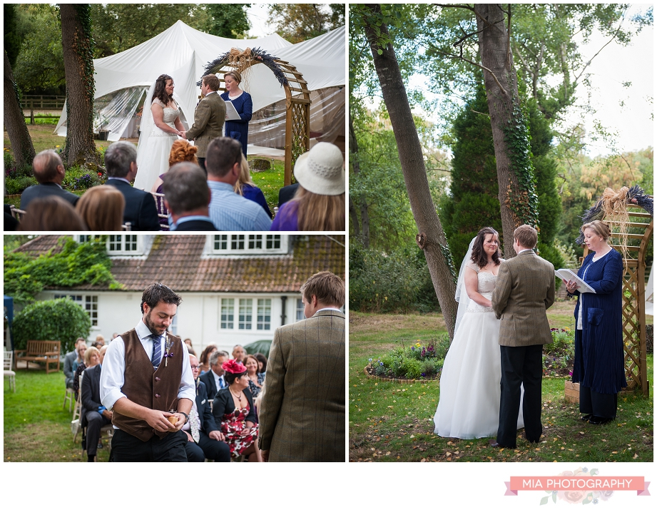 vows at the vintage garden marquee wedding in hampshire