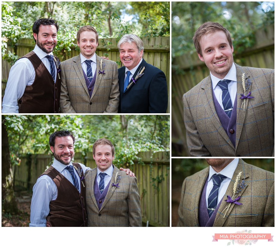 groom and bestman in the garden before wedding in ringwood, hampshire