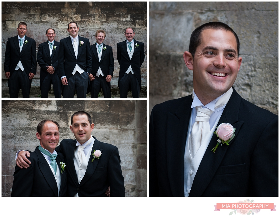 Boys outside romsey abbey with their wedding photographer