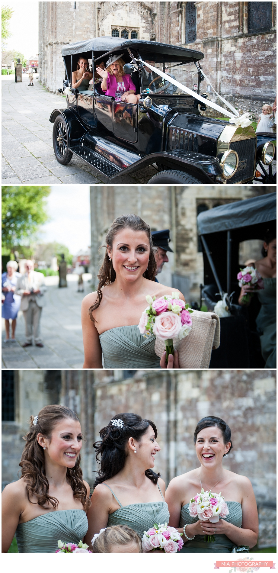 arrive for wedding photos at romsey abbey