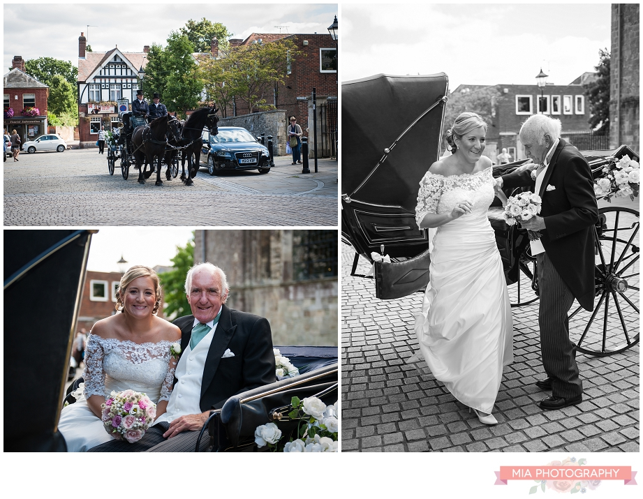 Wedding horse and carriage at romsey abbey, hampshire