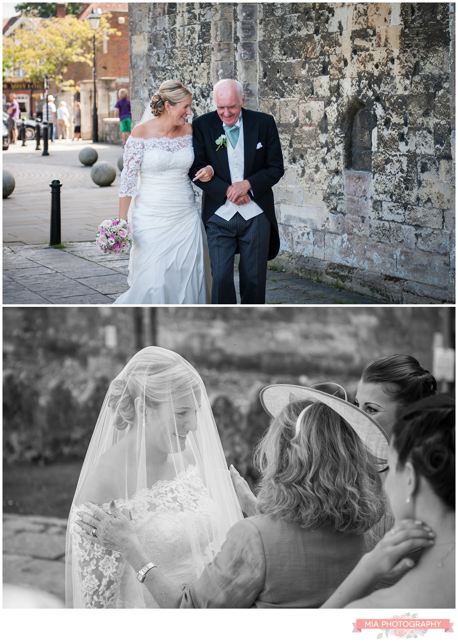 bride in vintage dress at romsey abbey photography