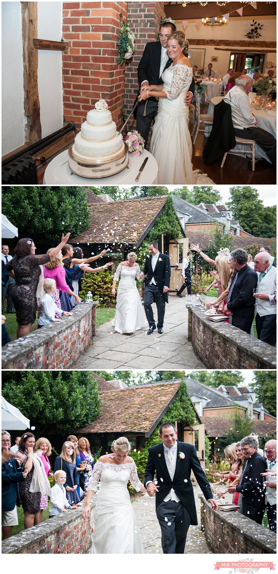 cutting the wedding cake at lainstone house hotel in winchester