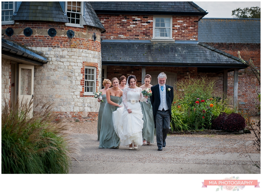 bride about to be married at bury court barn