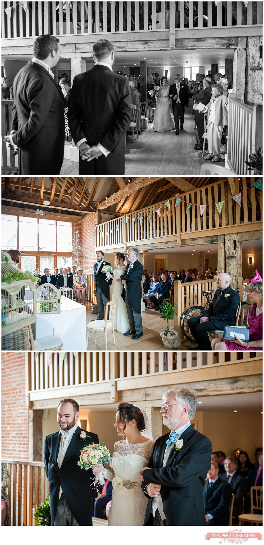 bride and groom saying their vows at bury court barn in hampshire