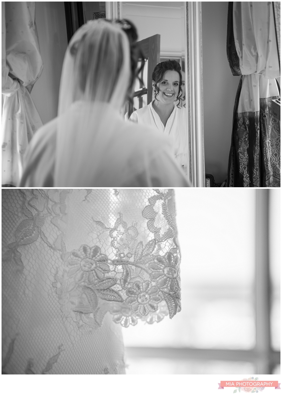 bride getting ready for her wedding in hampshire