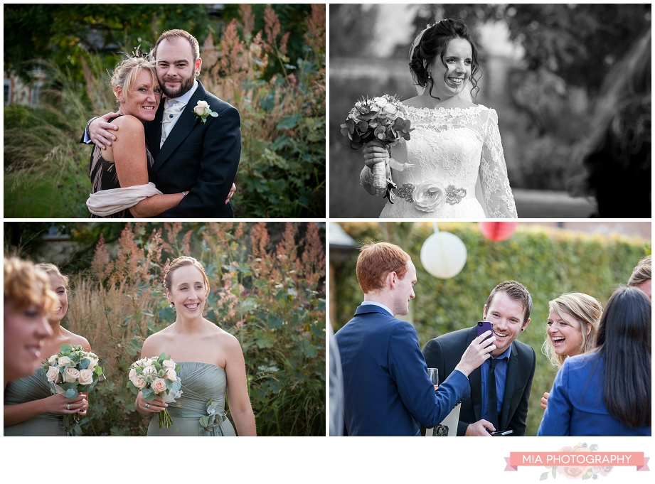 wedding guests at bury court barn in hampshire