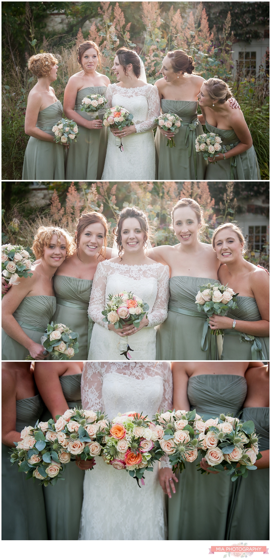bridesmaids posing for vintage style wedding photos