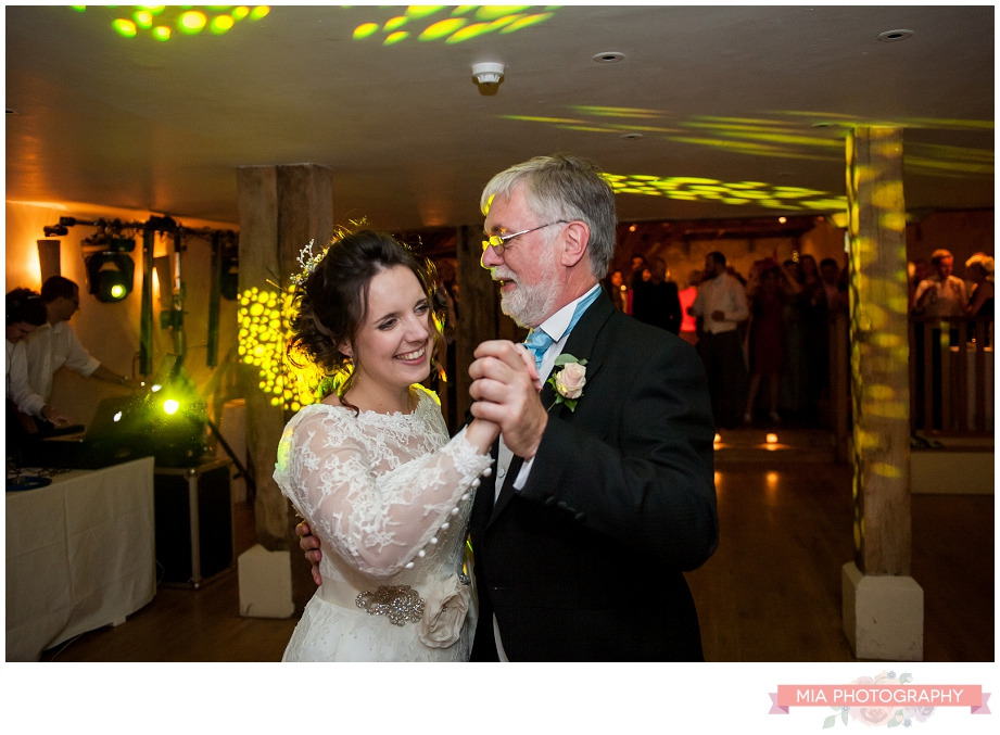 bride dancing with her dad at bury court barn