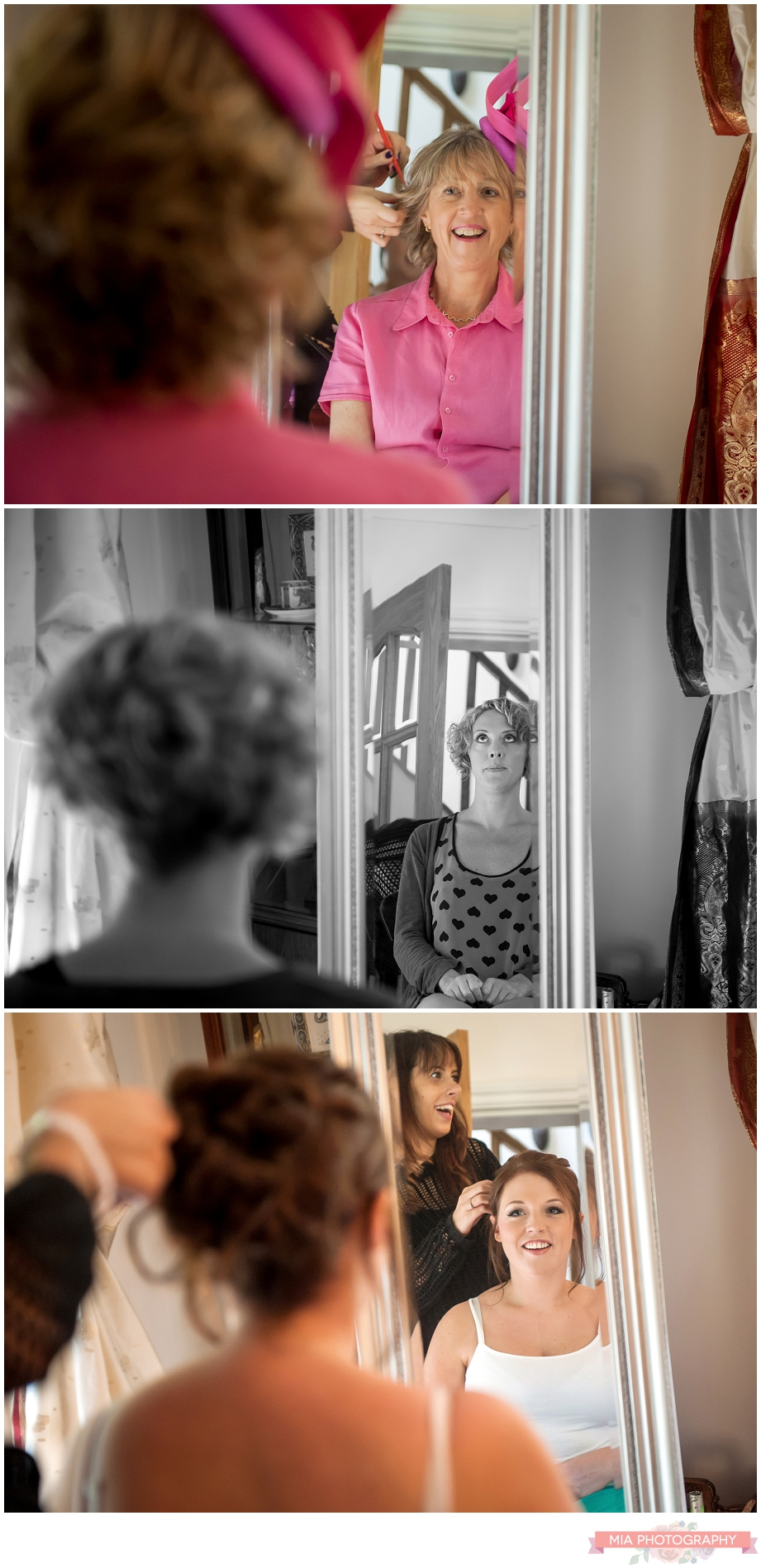wedding hair and make up being done at the barn in bury, hampshire
