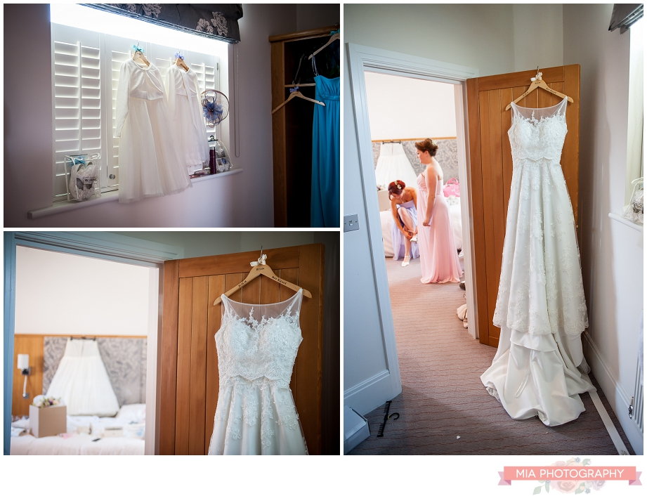 wedding dress hanging up at oakley hall