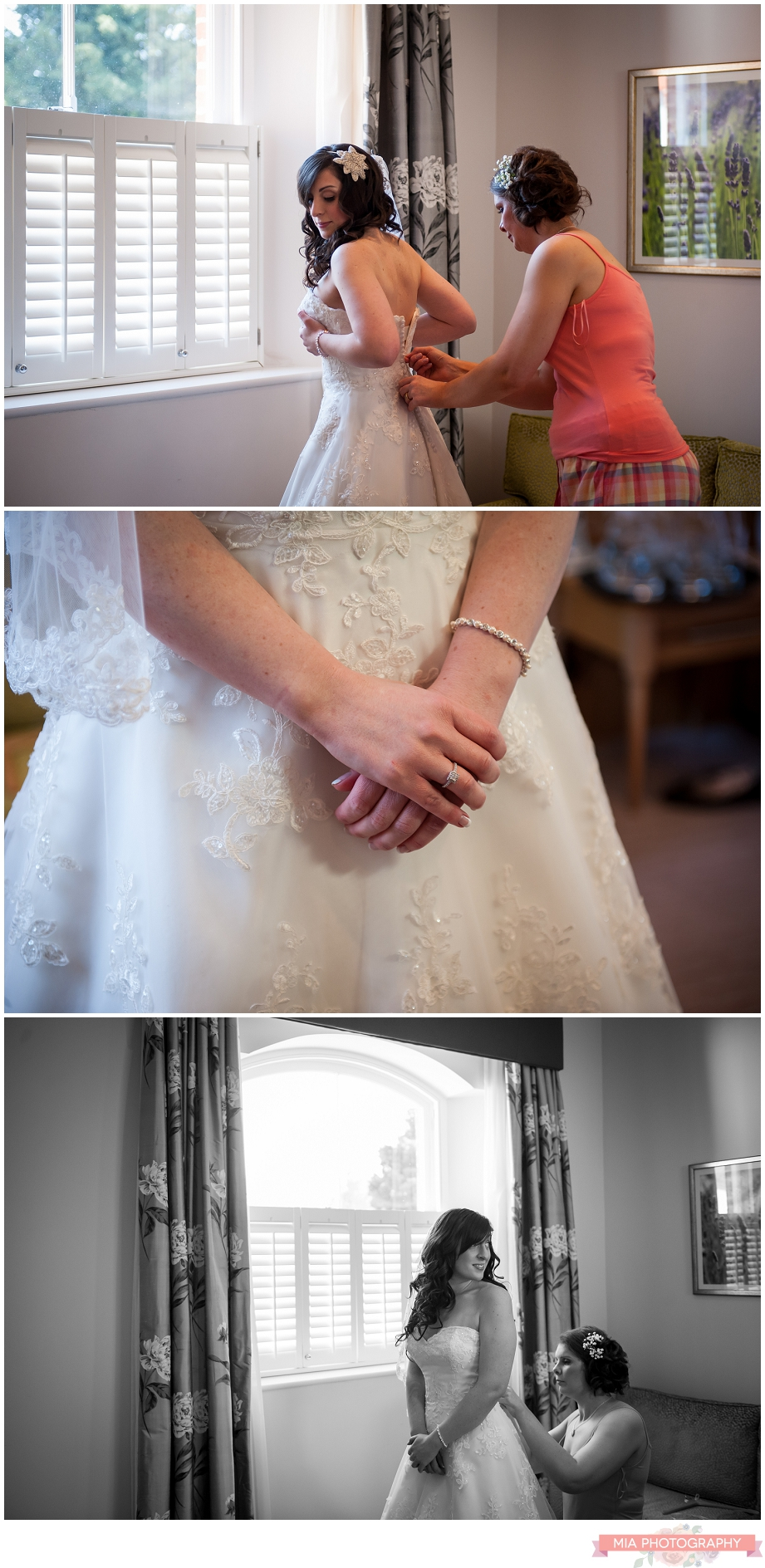 bride getting in her dress at oakley hall