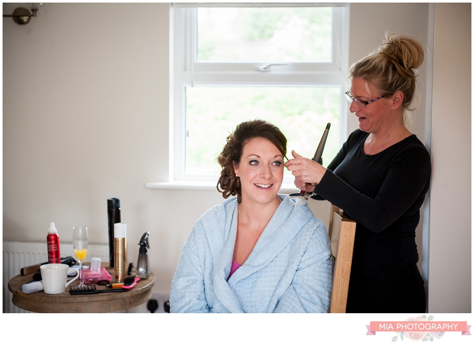 bride getting ready before the wedding in hampshire