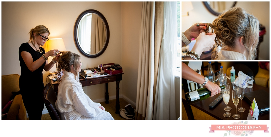 bride getting ready at Meon Valley Marriott hotel