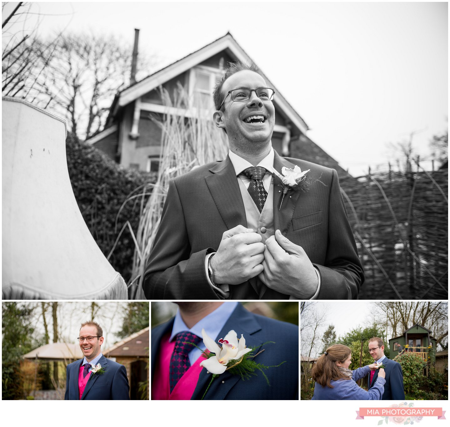 Groom at Fanny's Farm shop wedding
