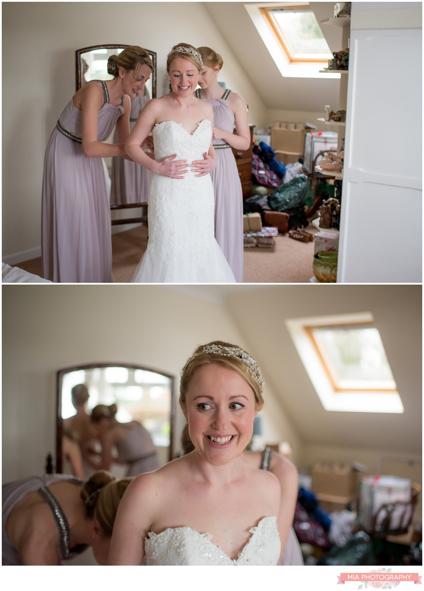 hampshire bride getting in her dress - marquee wedding
