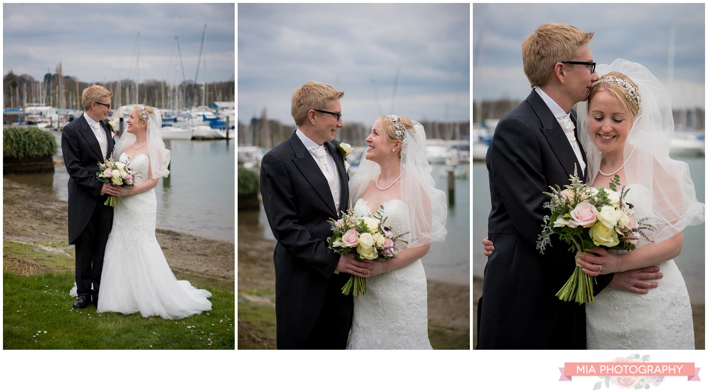 wedding photos by the sea in hampshire