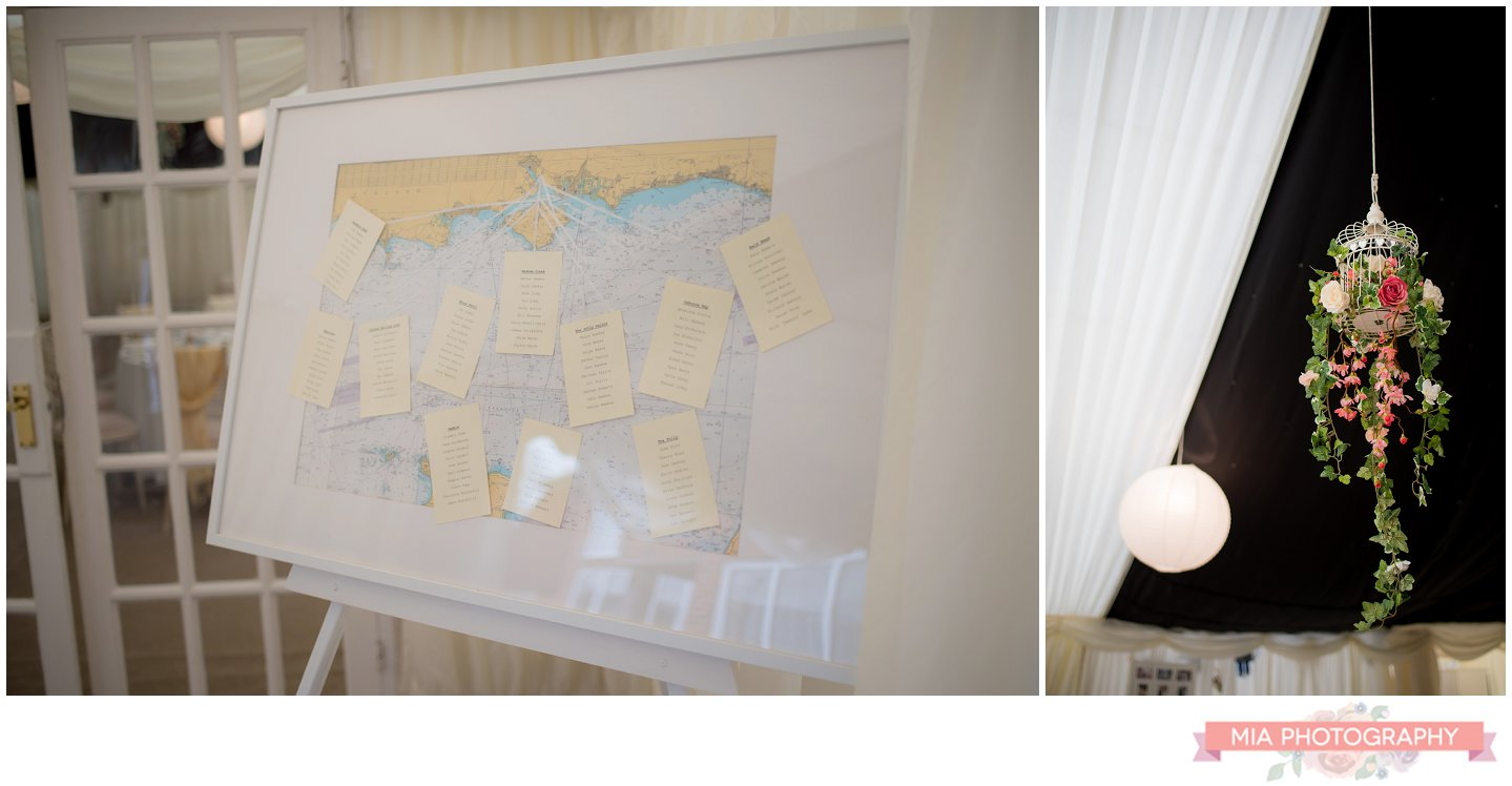 map seating plan at the wedding in hampshire