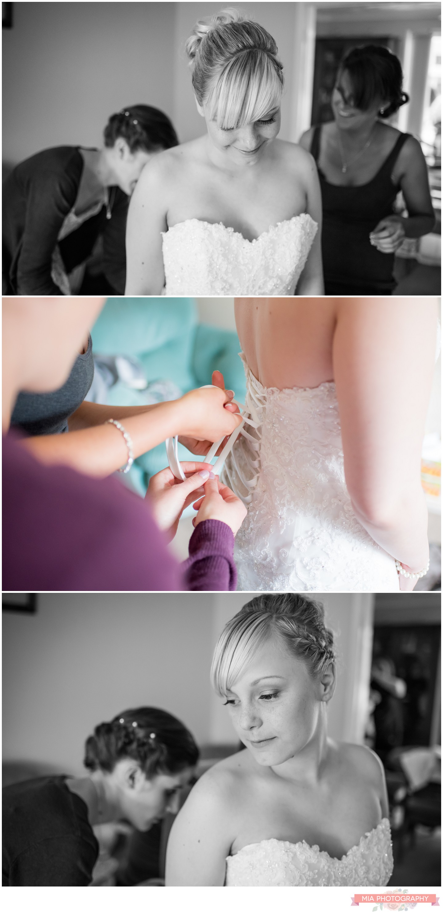 bride getting ready for her wedding at the domus