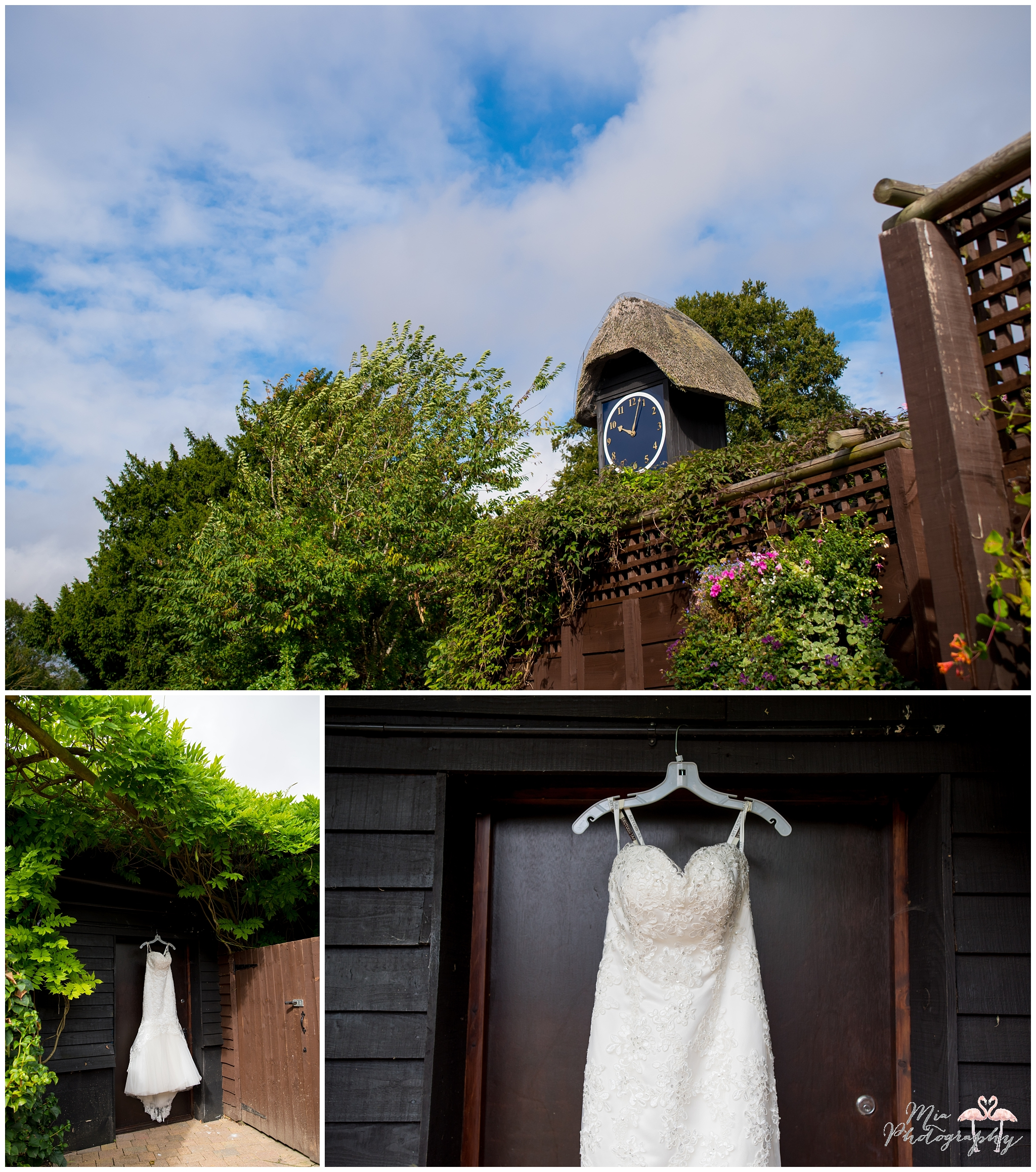 Wedding dress hanging up at Clock Barn