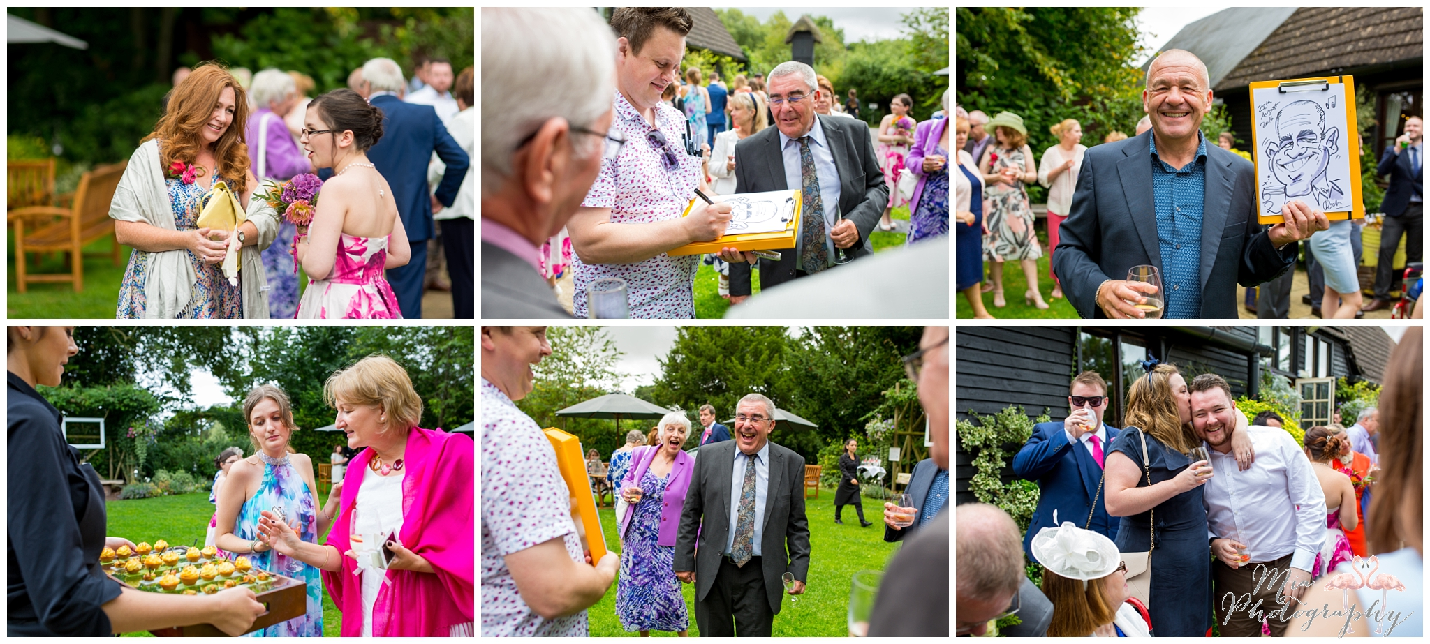 Canapes and laughing outside the barn