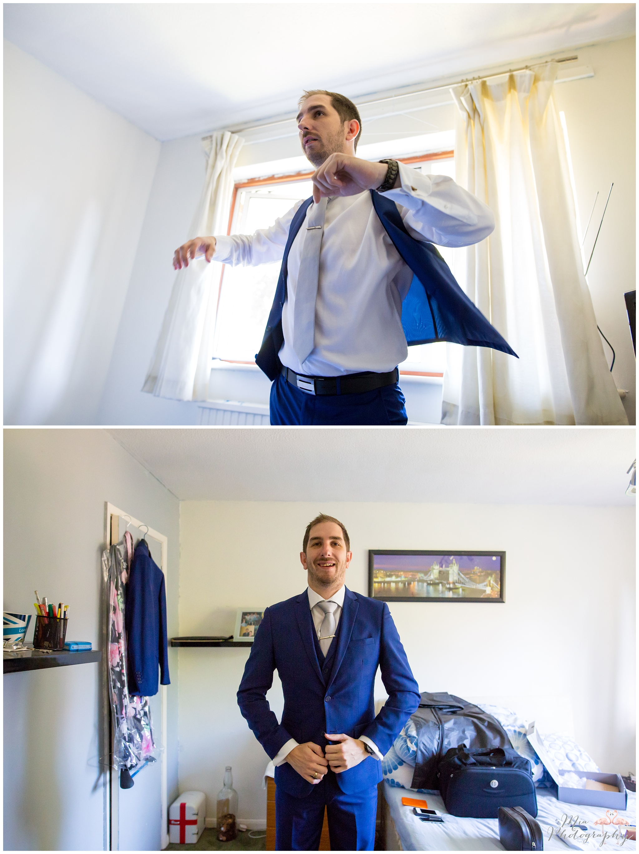 Groom putting on his jacket