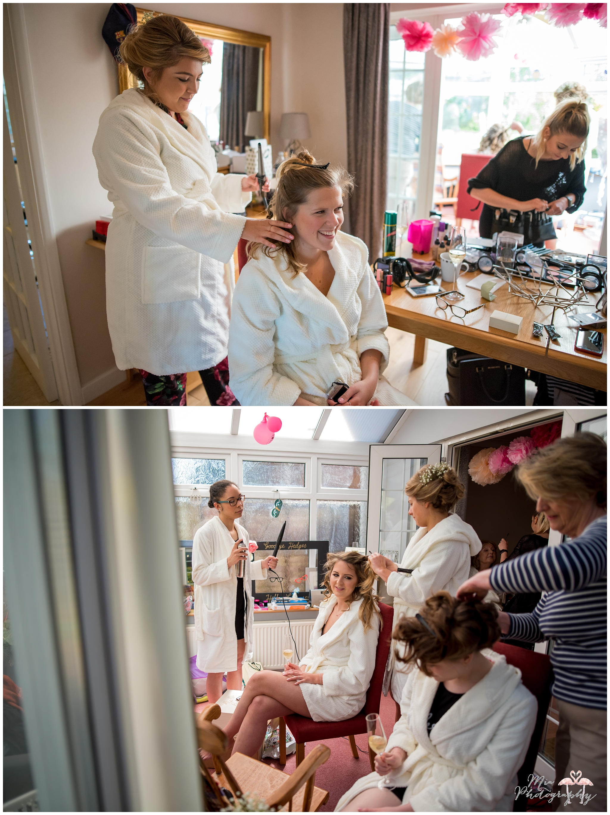 Bridesmaids getting ready for the Hampshire wedding