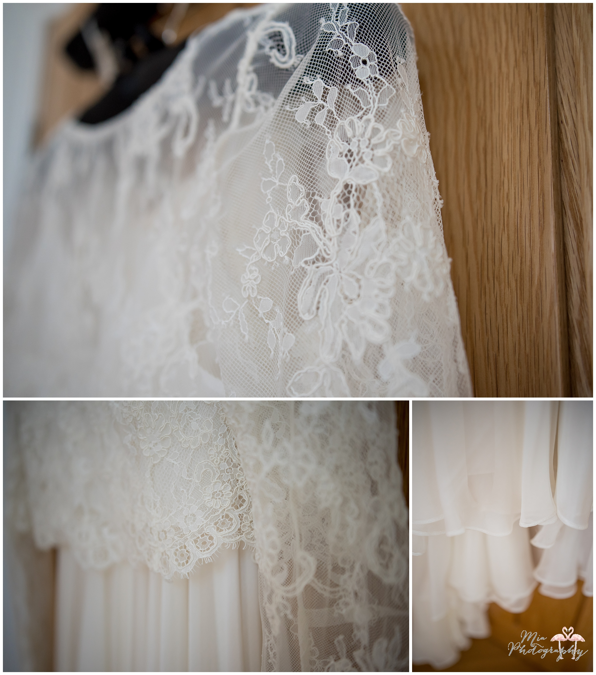 Bride's dress hanging up