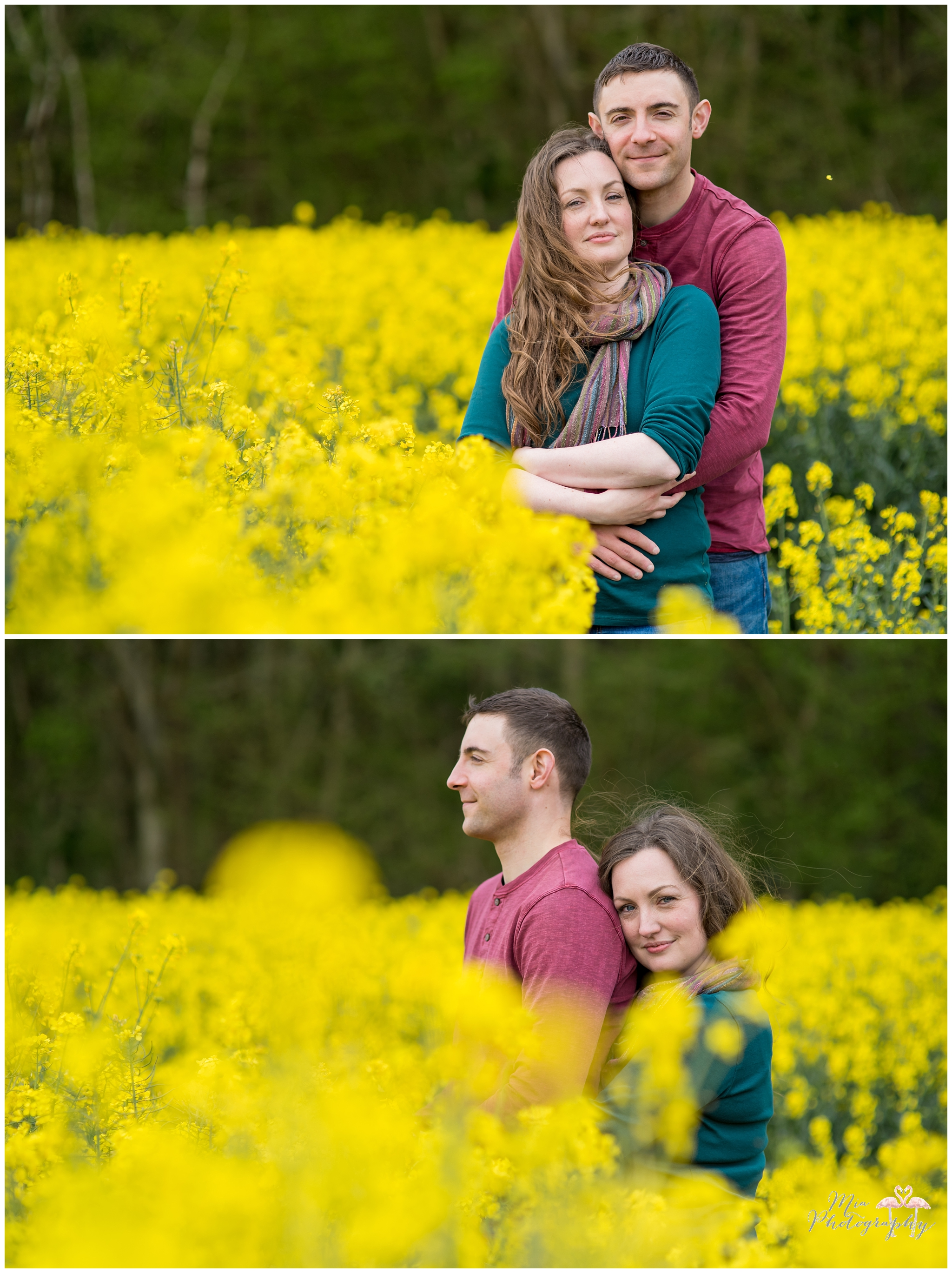 Couple photos in rapeseed