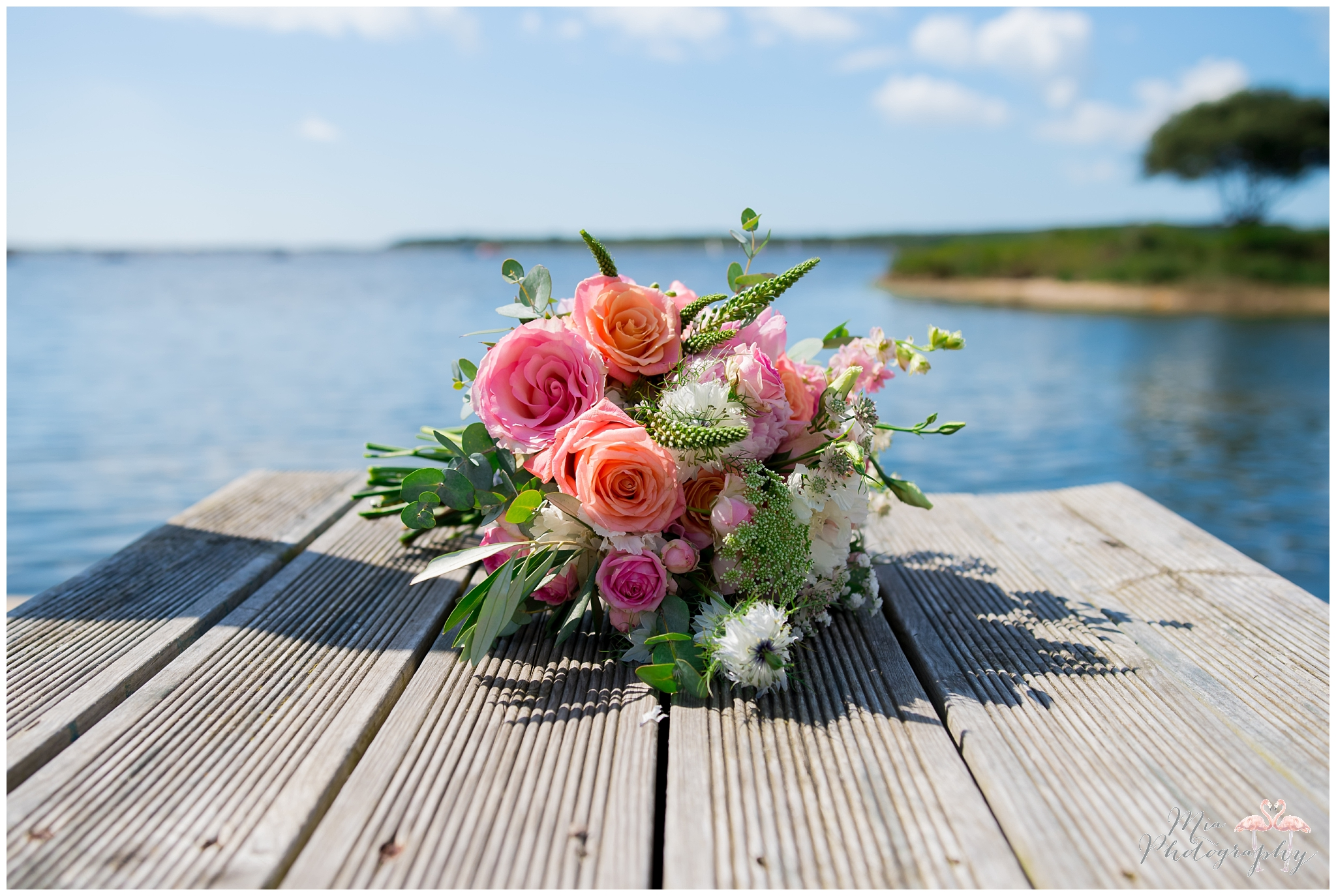 Hot pink flowers at Sopley Mill wedding