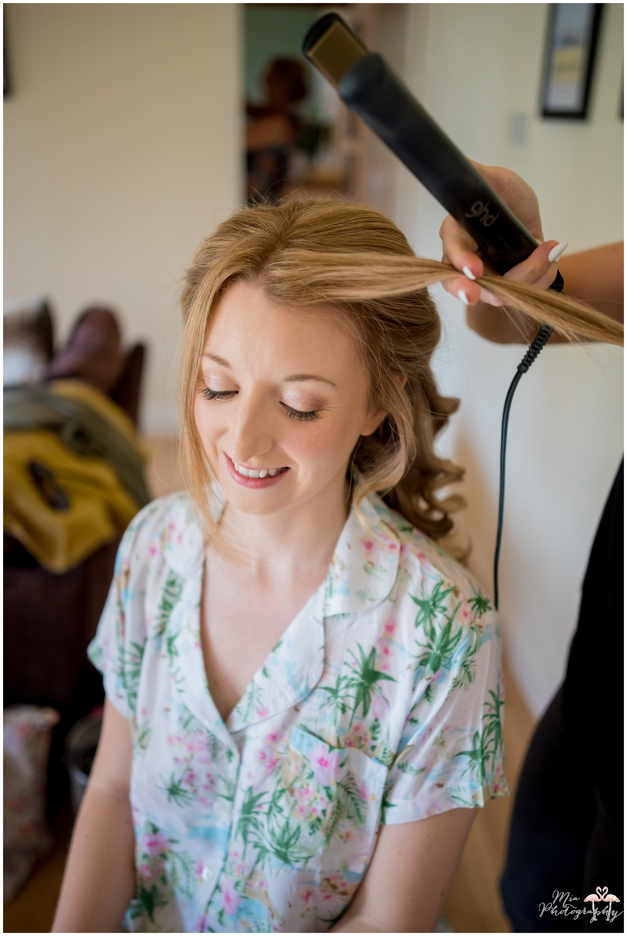 Bride getting ready for her wedding at Parley Manor