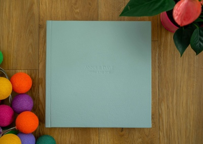 wedding album in green
